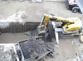 Lift pit excavating at city centre site