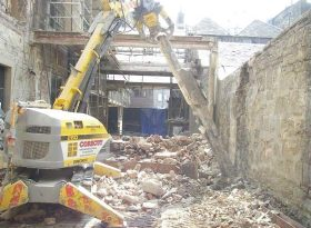 Controlled demolition of historic city-centre structure